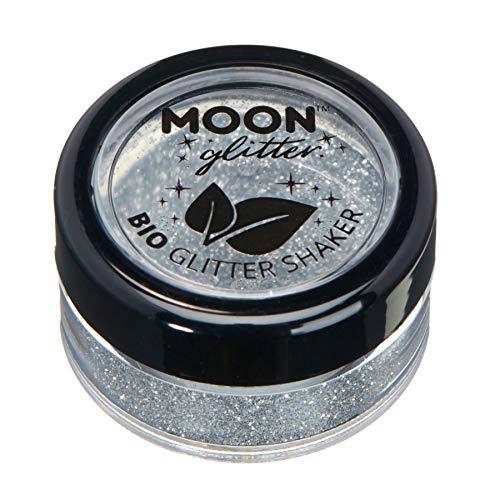 Glitter biodegradabili ed ecologici a pezzi della Moon Glitter - Glitter cosmetici per il volto, il corpo, le unghie I capelli e le labbra - 100% Biologici - 5g - Argento