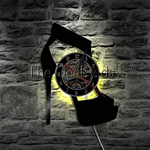 WTACK High Heels Schuh Led Wand Licht Zeichen Mode High HeelSilhouette Vinyl Clock Nightlight Clock Kreative Dekorative Vinyl Wanduhr 12 Zoll -