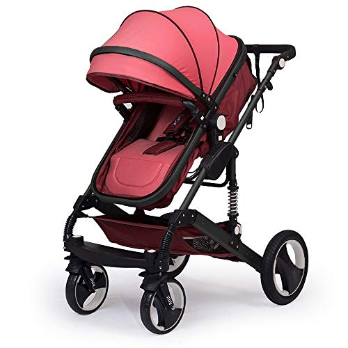 """Kinderwagen """"California"""", 3 in 1 Kombikinderwagen Megaset 8 teilig inkl. Babyschale, Babywanne, Sportwagen und Zubehör, zertifiziert nach der Sicherheitsnorm EN1888, Bordeaux Rot"""