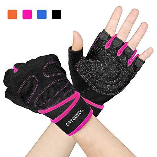 arteesol Fitness Handschuhe, Herren Damen Gewichtheber Training Sport Handschuhe für Grip Gewichtheben Training Fitness Bodybuilding Training und Outdoor Sports mit Adjustable Handgelenkstütze (Sicherheits-roter Uniform)