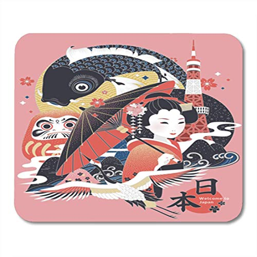 Elegante Japan (HOTNING Gaming Mauspad Colorful Elegant Japan Cultural Symbol with Country Name in Japanese Word Pink Carp 11.8