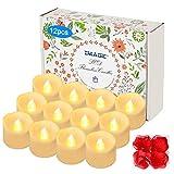 IMAGE 12 LED Teelichter mit Timer, 6 18 Stunden aus, 3.6 x 3.6 cm Elektrische Flackernde Batteriebetriebene Kerzen, Warme Weiße,mit 100 Stück Dekorative Fake Rose Petals