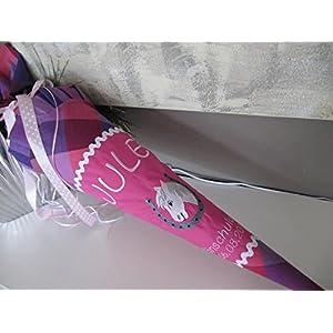 #45 Pferd im Hufeisen pink Schultüte Stoff + Papprohling + als Kissen verwendbar