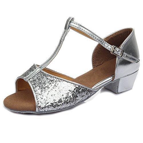 SWDZM Mädchen Ausgestelltes Tanzschuhe/Standard Latin Dance Schuhe Pailletten Ballsaal Modell-D205 Silber EU35