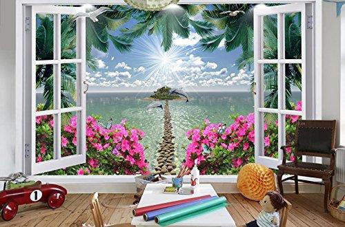 Lxsart Tapete Für Wände 3D Stereoskopische 3D-Wandbild Coco Seascape Red Floral Stein Weg Fototapete Wohnzimmer Schlafzimmer-350Cmx245Cm - Coco Stein