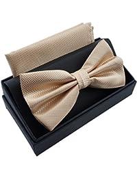 Massi Morino Pajarita con pañuelo en caja de regalo, pajarita en diferentes colores hecha de microfibra, moño de diseño ajustable con pañuelo a juego con el color (Beige)