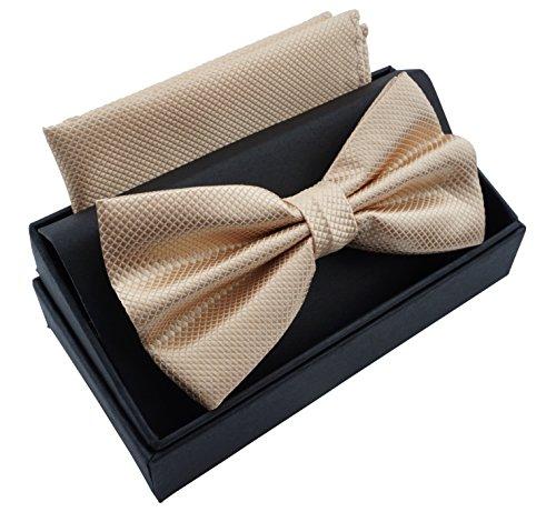 Herren Designer Smoking (Massi Morino Fliege mit Einstecktuch inkl. Geschenkbox, verstellbare Designer Schleife in verschiedenen Farben (Beige))