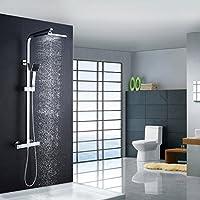 Auralum® clásico de sistema ducha Termostato Cuadrado con alcachofa & Top de spray para duchas Acero Inoxidable Cromo cascada ducha ducha ducha set incluye 2años Garantía
