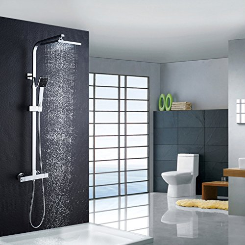 Auralum colonna doccia con miscelatore termostatico, sistema doccia antiscottatura, set doccia con soffione a 8