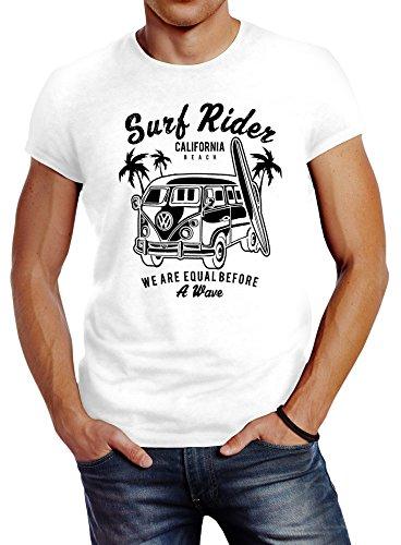 Herren T-Shirt VW Bus Bulli Surfing Retro Samba T1 T2 T3 Slim Fit Neverless