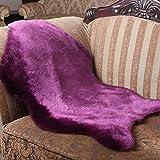 60 * 90CM Schaffell Lammfell-Teppich Pastell Schwarz / Hot Pink / Grau/ Lila/ Weiß Kunstfell Schaffell Imitat | Wohnzimmer Schlafzimmer Kinderzimmer | Als Faux Bett-Vorleger oder Matte für Stuhl Sofa