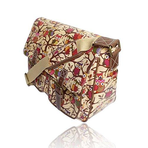 Saute Styles, Borsa a secchiello donna medium Beige Owl Print Oilcloth