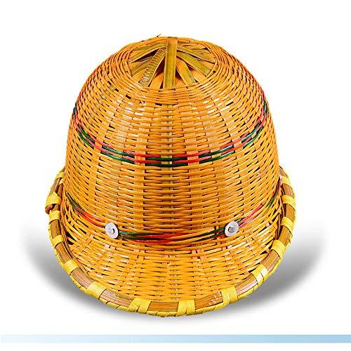 JH& Bamboo Hard Hat - Baustelle Belüftung Sonnenschutz Konstruktionskappe, Sommer Rattan Hut Schutzhelm Bauprojekt Führung Verwendung