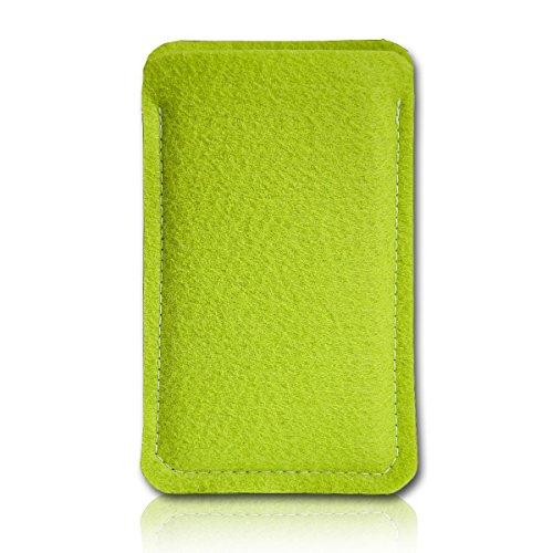 Filz Style Wiko Riff Premium Filz Handy Tasche Hülle Etui passgenau für Wiko Riff - Farbe hellgrün