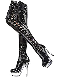Suchergebnis auf für: damen stiefel schwarz lack