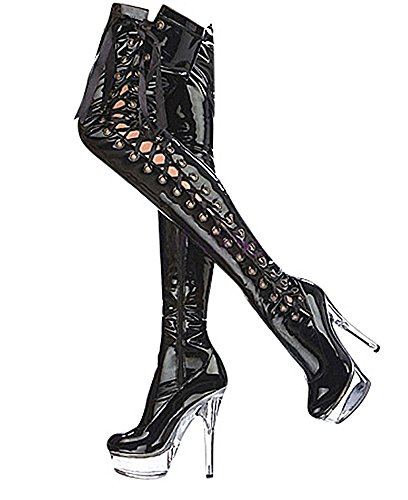Ruby-Fashion Sexy Overknee Stiefel Stiletto High Heels Crystal Plateau Boots Gogo Lack Damen Schuhe Langschaft Over-Knee Lackstiefel Black Schwarz EU Größe 40