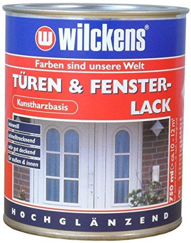 Türen und Fensterlack weiss inkl. Pinsel von E-Com24 zum Auftragen und 1 Paar Nitrilhandschuhe (375 ml weiss)