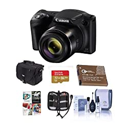 Canon PowerShot SX420 IS 20MP Digital Camera, 42x Optical Zoom, Black - Bundle with 32GB Class 10 SDHC Card, Camera Case, Spare Battery, Memory Wallet, Cleaning Kit, Software Package