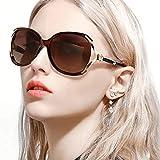 FIMILU Gafas de Sol Polarizadas de Gran Tamaño para Mujeres Clásicas Moda Elegante Diseño de Diamantes de Imitación Para Conducir Compras Viajar (Marrón)