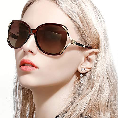 FIMILU Damen Klassische Übergröße Polarisierte Sonnenbrillen Elegante Mode Strass Design für das Fahren Einkaufen (Braun)