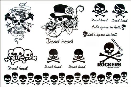 Dernières nouvelles 2012 hommes de conception nouvelle version et les femmes étanche autocollant de tatouage ROCK vent tatouage crâne temporaire