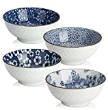 Dowan set di ciotola in ceramica, design giapponese ciotole per cereali/zuppa/pasta, blu e bianco, set di 4
