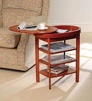 Greenhurst Swivel Top Side Table in a Oak Finish with a Storage Compartment