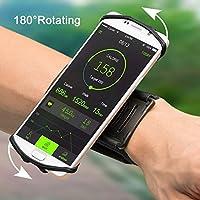 Brassard 180° Rotation de Sport Anti-Sueur pour Téléphone Smartphone Bracelet de Sport pour iPhone X/8/8 Plus/7/7 Plus/6/6s/,Samsung Galaxy S8/S7/S6 Huawei,avec Sangle élastique 4 Couleurs de VUP