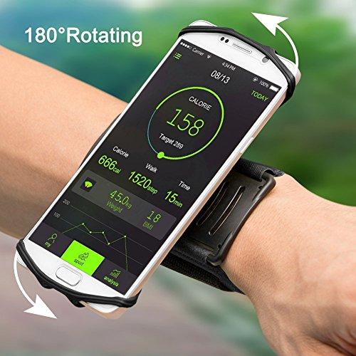 """VUP Fascia da Braccio Sportiva EUGO Universale per Galaxy S8/S7/S7 Edge/S6/S6 Edge/Edge+, iPhone X, 8,8 Plus, 7, 7 Plus,6s/6, 6s Plus/6 Plus ed Smartphone Uguale o Inferiore a 6"""",Porta Cellulare Armband da Polso con Rotazione di 180 Gradi per Corsa Running Jogging Maratona Palestra (Nero)"""