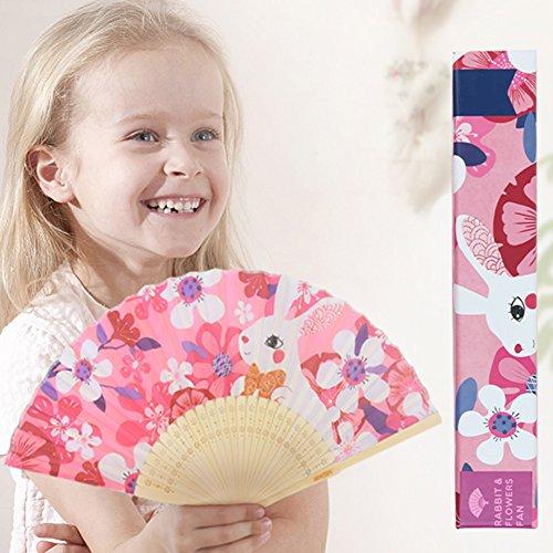 Comaie Bambus-Papierfächer, handfaltbar, für den Außenbereich, für Kinder, elegant, faltbar, Cartoon-Tiere, tragbar, cool für Mädchen und Jungen (Großhandel Party Favors)