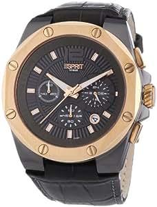 Esprit Herren-Armbanduhr Clear Octo Gun Rosegold Chronograph Quarz Leder ES102881008