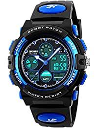 VAZEEDO Digital Watches for Kids Boys - 50M Waterproof Outdoor Sports Analogue Watch with Alarm/Timer/Dual Time Zone/LED Light, Childrens Electronic Shock Resistant Wrist Watches for Junior Teenagers