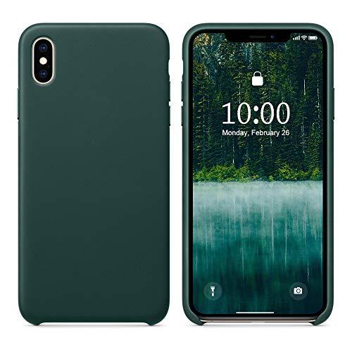 SURPHY iPhone XS Lederhülle, iPhone X Leder Hülle, Echtesleder Case Schutzschale vor Stürzen und Stößen Vintage Handyhülle für Apple iPhone XS(2018) iPhone X(2017) 5,8 Zoll, Waldgrün