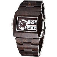 BEWELL colore: legno di sandalo, Orologio cronografo da uomo, analogico-digitale, a LED, con doppia zona relogio Time-Orologio da parete, colore: