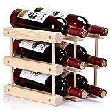 Ducomi Weinflaschenhalter Modular, Modular für 6 Flaschen - Bücherregal aus hochwertigem, lackiertem Holz mit stapelbarem Genuss, erweiterbar für Wein und Champagner