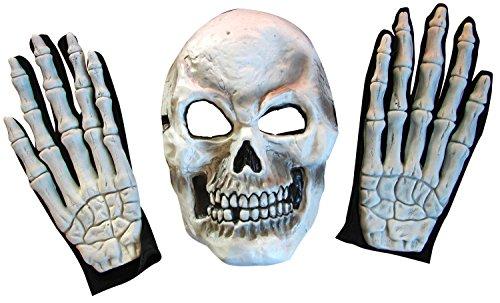 Gevatter Tod Knochen Set Skelett Maske + Handschuhe mit 3 D Effek (Hut Zubehör Pimp Kostüm)