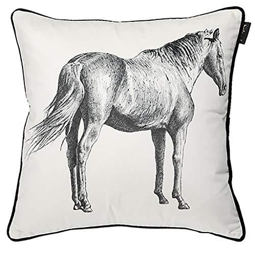 Black Horse Kissen (Dong Kissen-Einsätze 18x18 Zoll für Bett mit Wörter Kissen für Sofa Black Cute White Horse Kissen (Farbe : Weiß))