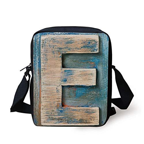 Letter E,Antique Alphabet Letters Collection Uppercase E with Vintage Style Display Decorative,Tan Blue Orange Print Kids Crossbody Messenger Bag Purse -