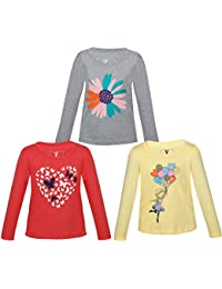 LANDEBERT Girls Printed Cotton T Shirt