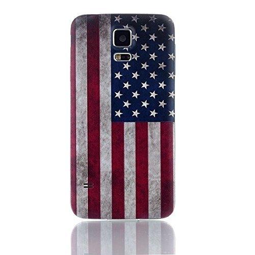 nsiucion Samsung Galaxy S5Akkudeckel [mit Gummidichtung Wasserdicht Dichtung], Gehäuse Ersatz Back Cover für Samsung Galaxy S5I9600, USA Flag-S5 (Cover-ersatz S5 Galaxy Back)