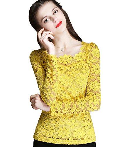 ONECHANCE Frauen-Spitze-langes Hülsen-runder Ansatz Blumenhäkelarbeit-einfache Spitzenbluse Farbe Gelb -