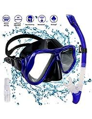 Set per Snorkeling, Diving Snorkeling Maschera, Maschera per Snorkeling con boccaglio in Silicone Alimentare, Lenti in Vetro temperato con Vista cristallina e cingturino Regolabile