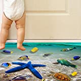 Fheaven 3D PVC Beach Floor Wall Stickers Removable Mural Decals Vinyl Art Living Room Decors 60cm X 90cm (A)
