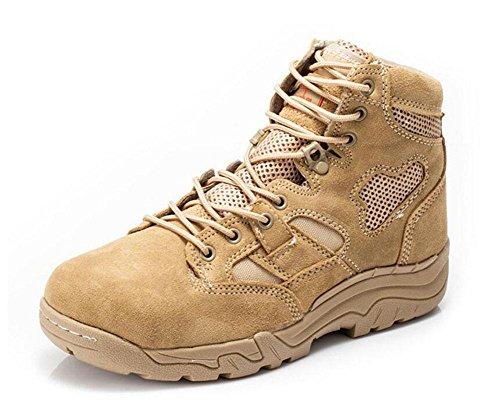 GLSHI Men Breathable Low Rise Bottes tactiques Bottes de désert 07 Bottes de combat en cuir Sports de plein air Chaussures de randonnée sand color