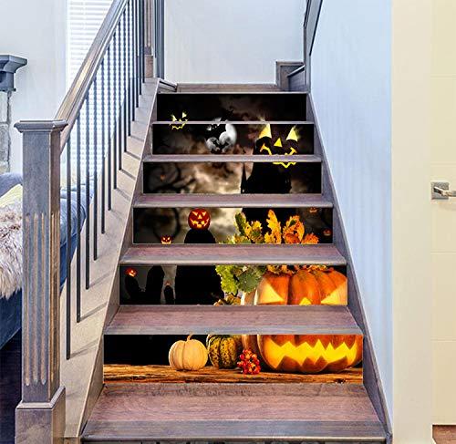Halloween-Pflanze 3D-Simulation Treppe Aufkleber Dekoration Wohnzimmer Selbstklebende Wasserdichte verschleißfesten dicken Wandaufkleber, 100cm * 18cm * 13 Stück, groß