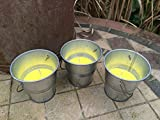 Set of 3 Citronella Candle in Small Tin Metal Bucket Garden Outdoor Dining Use