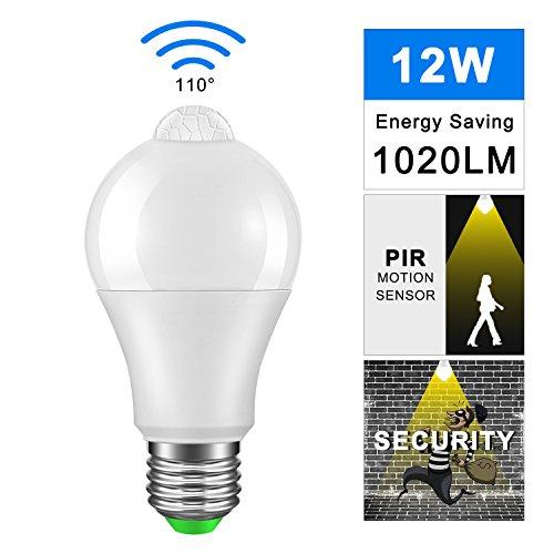TiooDre Lampadina a LED con sensore di movimento PIR ES E27 Lampada a vite Edison AC 85-265V Sicurezza Lampadine a LED [Classe energetica A +] (12W, Bianco caldo)