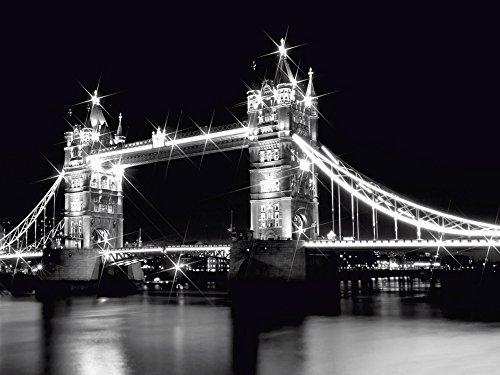 Artland Qualitätsbilder I Glasbilder Deko Glas Bilder 80 x 60 cm Architektur Brücken Foto Schwarz Weiß D1NP Tower Bridge London