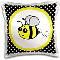 Janna Salak Designs Woodland Creatures - Cute Yellow Bumble Bee on Black and White Polka Dots - 16x16 inch Pillow Case - Bumbles Giardino