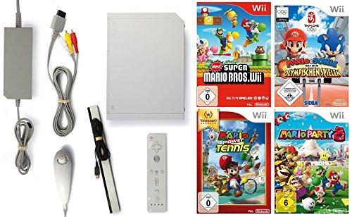 Nintendo Wii Konsole inkl. Zubehör und mit 4 Super Mario Spielen (Wii U Mit Super Mario Bros)